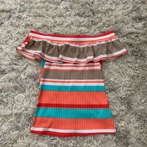 Off the Shoulder Ribbed Ruffle Top